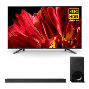 """XBR-65Z9F 65"""" MASTER Series BRAVIA 4K HDR UHD TV and HT-X9000F 2.1-Channel Dolby Atmos Sound Bar with Subwoofer"""