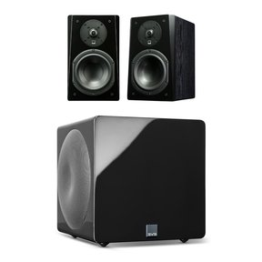 Prime Bookshelf 2.1 Speaker Package with 3000 Micro Subwoofer (Premium Black Ash/Piano Black)