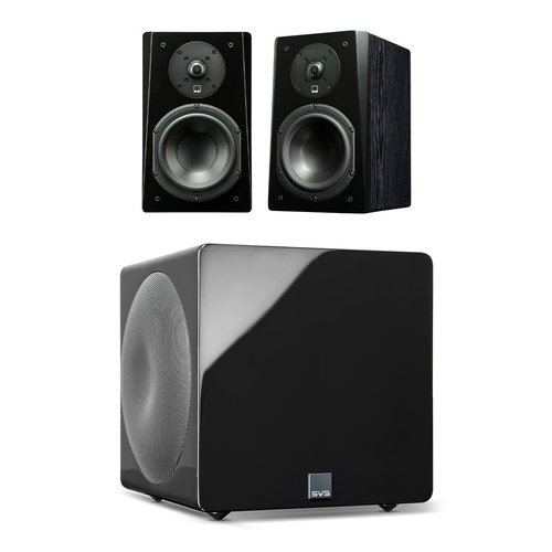 View Larger Image of Prime Bookshelf 2.1 Speaker Package with 3000 Micro Subwoofer (Premium Black Ash/Piano Black)