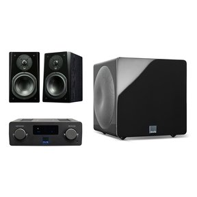 Prime Wireless SoundBase and Prime Bookshelf 2.1 Speaker Package with 3000 Micro Subwoofer (Premium Black Ash/Piano Black)