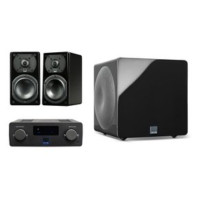 Prime Wireless SoundBase and Prime Satellite 2.1 Speaker Package with 3000 Micro Subwoofer (Piano Black)