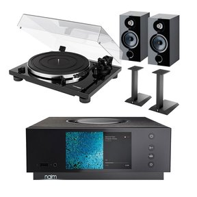 TD 201 Manual Two-Speed Turntable with Built-In Preamp and Focal Chora 806 Bookshelf Speakers with Speaker Stands and Naim Uniti Atom All-in-One Integrated Amplifier