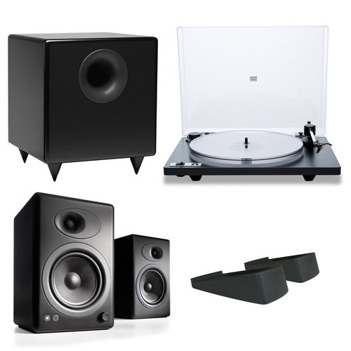 View Larger Image of Orbit Plus Turntable with Built-In Preamplifier and Audioengine A5+ Speaker System with Speaker Stands and S8 Compact Powered Sub