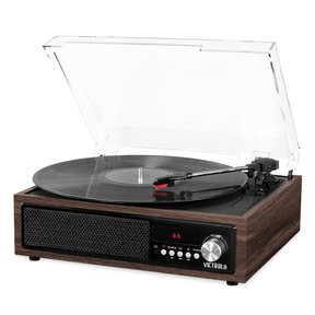 3-in-1 Bluetooth Record Player with Built in Speakers and 3-Speed Turntable