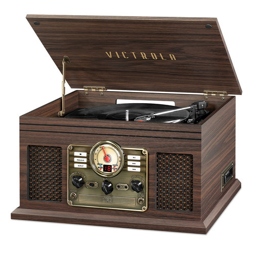 View Larger Image of 6-in-1 Nostalgic Bluetooth Record Player with 3-speed Turntable