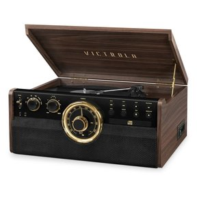 6-in-1 Wood Empire Bluetooth Record Player with 3-Speed Turntable, CD, Cassette Player and Radio (Factory Certified Refurbished, Espresso)