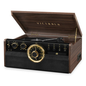 7-in-1 Wood Empire Bluetooth Record Player with 3-Speed Turntable, CD, Cassette Player and Radio (Factory Certified Refurbished, Espresso)