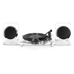 Acrylic Bluetooth 40 watt Record Player with 2-Speed Turntable and Rechargeable Speakers (Clear)