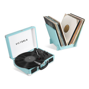 Journey+ Bluetooth Suitcase Record Player with Matching Record Stand