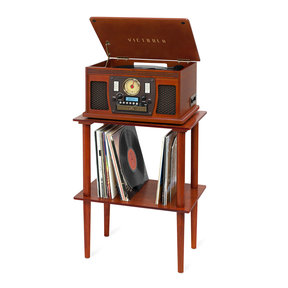 Navigator Bluetooth Record Player with Matching Record Stand (Mahogany)