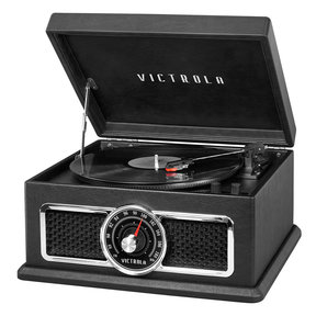 The Plaza 4-in-1 Nostalgic Bluetooth Record Player with 3-Speed Turntable and FM Radio (Black)