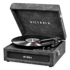 Brooklyn 3-in-1 Bluetooth Suitcase Record Player with 3-speed Turntable (Factory Certified Refubished, Lambskin Grey)
