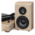 View Larger Image of Wood and Linen Fabric Bluetooth Record Player with 3-speed Turntable