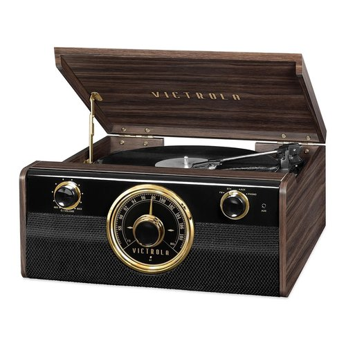View Larger Image of Wood Metropolitan Bluetooth Record Player with 3-speed Turntable and Radio
