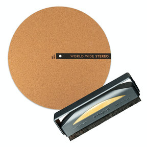 """Record Care Kit with 12"""" Modern Series Cork Slipmat and Anti-Static Record Brush"""