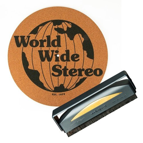 """View Larger Image of Record Care Kit with 12"""" 1979 Special Edition Cork Slipmat and Anti-Static Record Brush"""