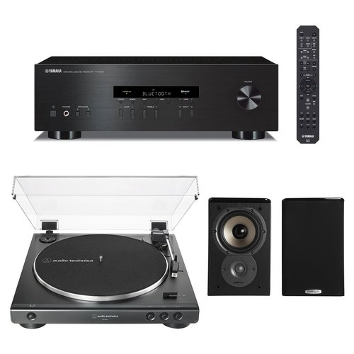 View Larger Image of R-S202 Bluetooth Stereo Receiver with Audio-Technica AT-LP60X-BK Fully Automatic Belt-Drive Stereo Turntable (Black) and Polk TSi100 Bookshelf Speakers - Pair (Black)